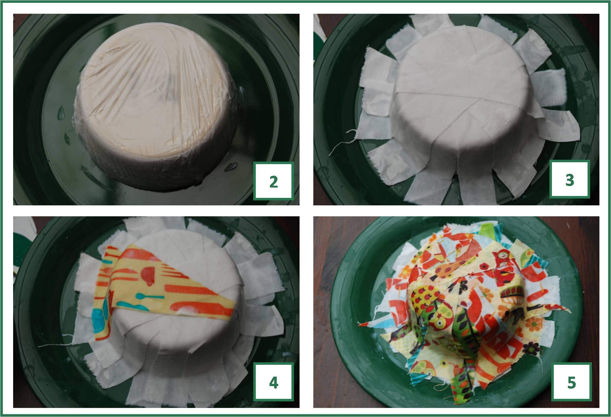 steps to making fabric mache bowls
