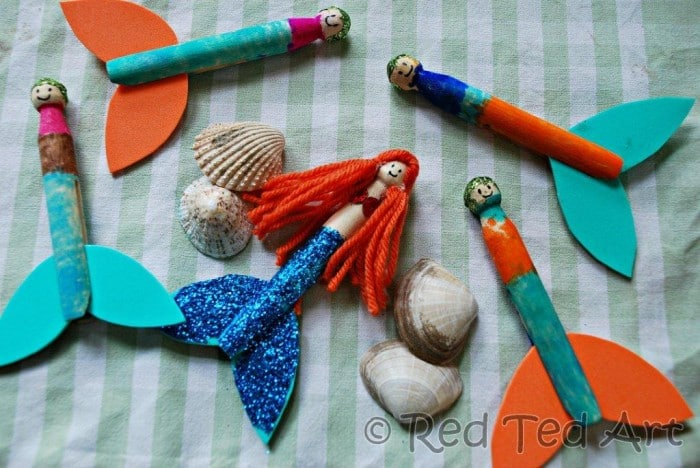 Kids Crafts Clothes Pins Mermaids Red Ted Art