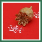 0 poppy snowflake stamp red