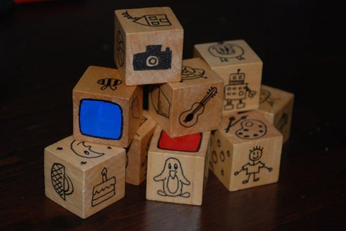 Story Cubes - so easy to make and a great way to stimulate imagination, creativity and of course story telling. Customise the images to suit your family's interests (e.g. a family pet or loved activity such as hiking or baking!)