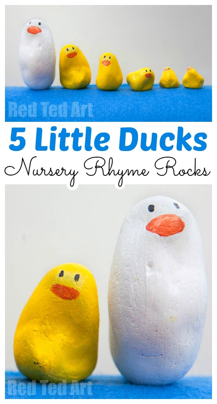 Easy Nursery Rhyme Rocks - 5 little ducks - make these easy Duck Rocks - perfect for singing along to 5 Little Ducks, as well as counting practice and ordering by size for preschool #preschool #toddler #rocks #stones #ducks