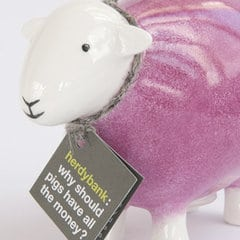 herdybank moneybox  fine bone china  hot pink  herdy