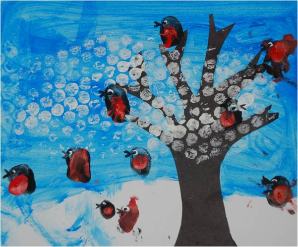 Kids Get Crafty Winter Scene For Calendar January Red Ted Art