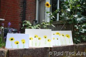 sunflower thumbprint cards