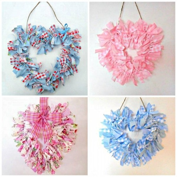 Rag Heart Wreaths - super simple, easy and thrifty DIY - looks so cute and pretty and are perfect for all those lovely fabric scraps