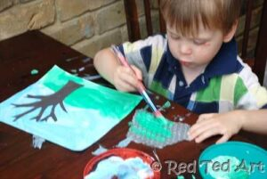 painting the four seasons with kids