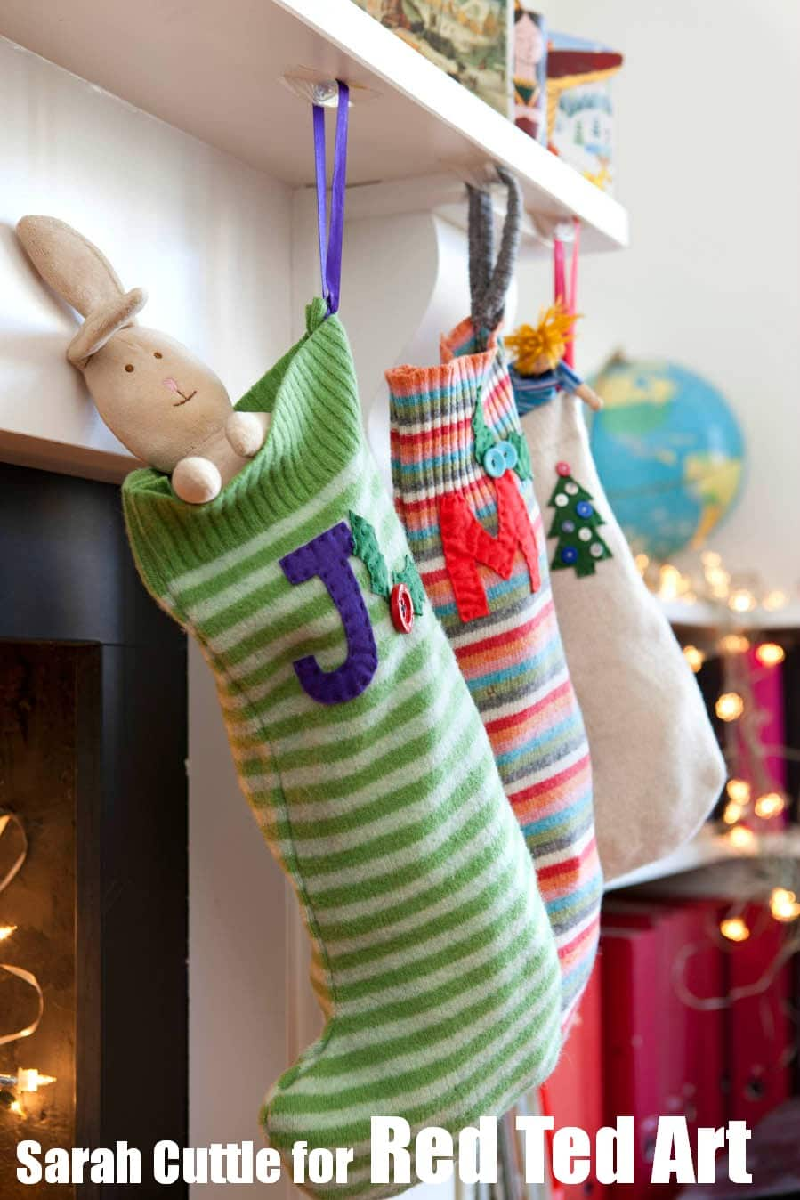 christmas jumper craft upcycle your old loved jumpers or sweaters into fabulously easy diy stockings