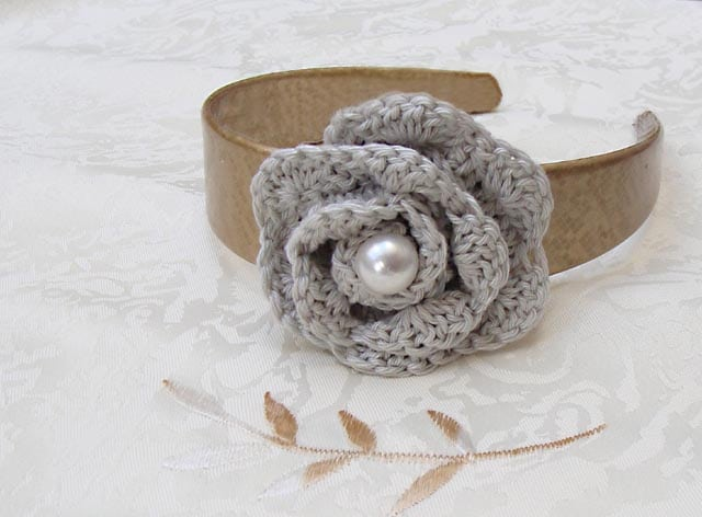 Crocheted Rosette Headband Flower