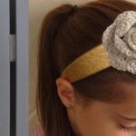 Crocheted rosette flower headband