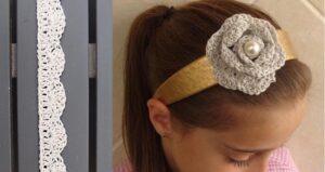 Crocheted rosette flower headband