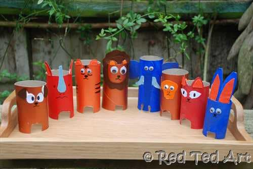 Kids Crafts Loo Roll Animal Zoo Red Ted Art