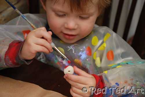 painting salt dough beads