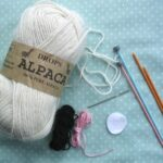 Materials to knit a bunny