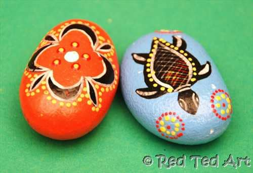 Kids Craft Indigenous Inspired Good Luck Stones Red Ted Art