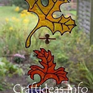 0 autumn crafts window leaves