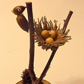 autumn crafts acorn bird and nest sculpture
