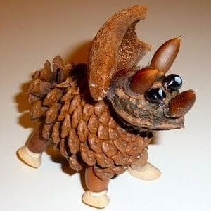 autumn crafts pine cone dinosaur