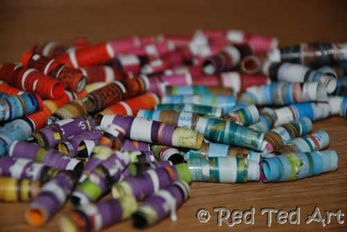 How To Make Magazine Beads Red Ted Arts Blog