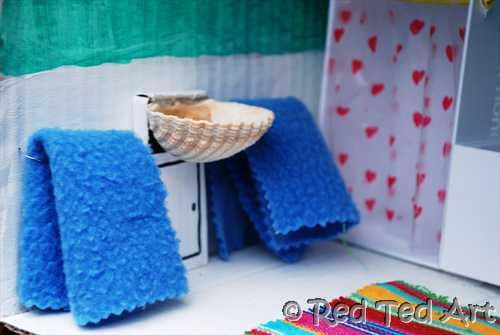 Quick Craft Post Dolls House Bathroom Red Ted Art