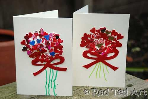 Kids craft valentine 39 s handprints cards red ted art 39 s for Valentine crafts for kindergarteners