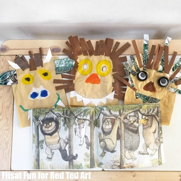 Easy Wild Things Masks for Kids - collage of kids and crafting