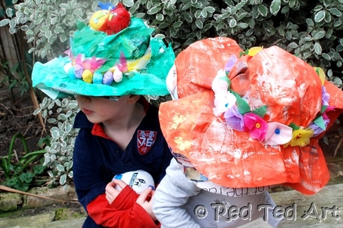 Easy peasy Newspaper Crafts - turn the humble paper into a FABULOUS hat! Wear them as Easter Bonnets or simply as whimsical summer hats. So much fun! One way to make. Endless ways to decorate!