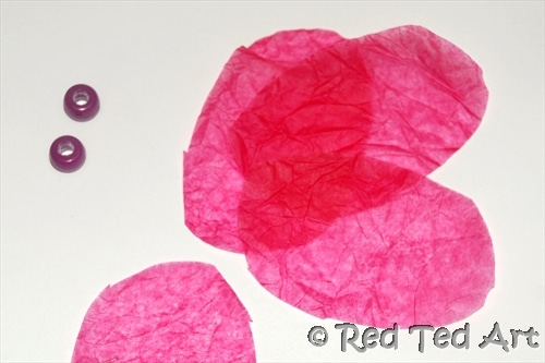 tissue paper flower petals and beads