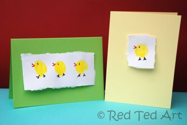 Adorable Chick Crafts for Kids: toddler easter cards