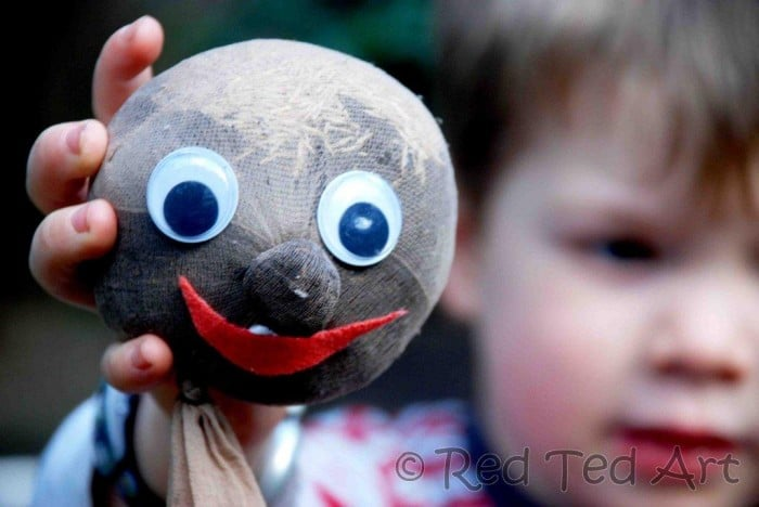 Grass Heads for Kids - a GrassHead is so so easy to make and super fun to watch grow and care for. A great art come science activity for kids. Teaching them about looking after plants too! How to Make Grass Heads!