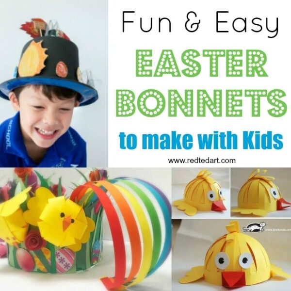Collage of Easter Bonnet Crafts for kids, including boy wearing Easter hat