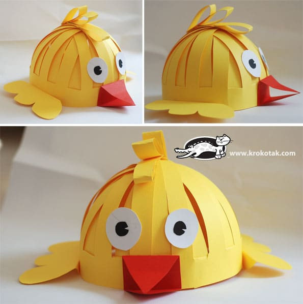 Chick hat made from paper.