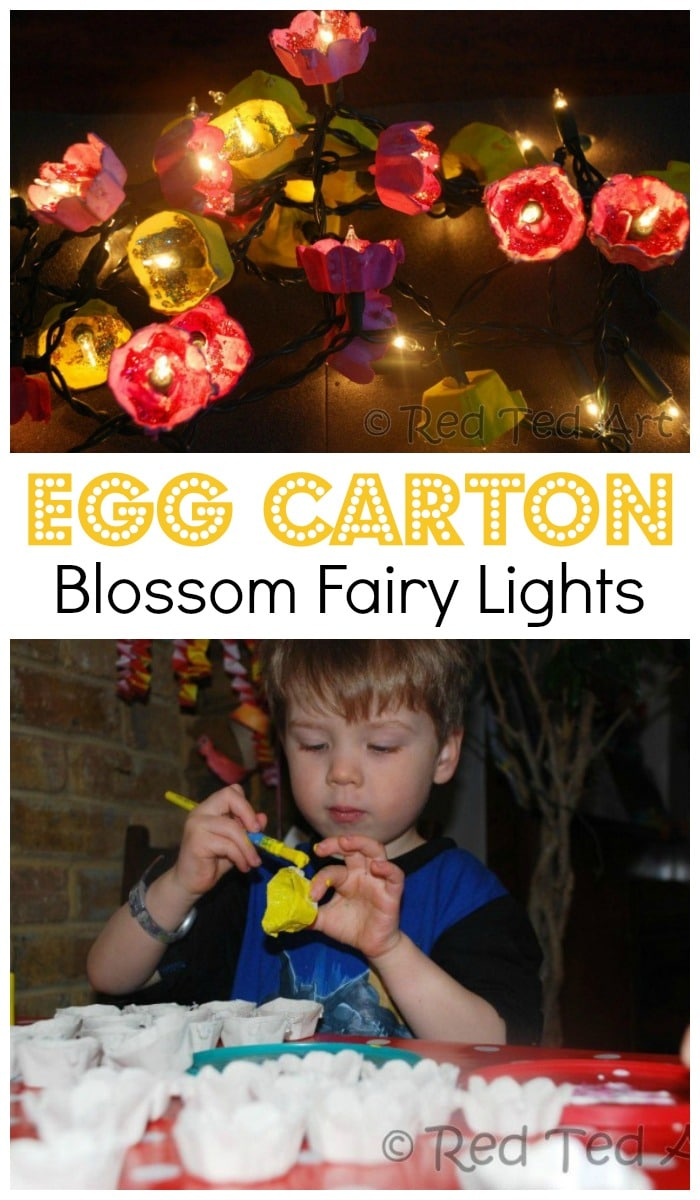 Gorgeous Egg Carton Blossom Fairy Lights for Kids to make. Love how easy these Cherry Blossom and Daffodil lights are to make using old Egg Cartons. Never leave lights unattended. #blossom #spring #springcrafts #eggcartons #preschoolers