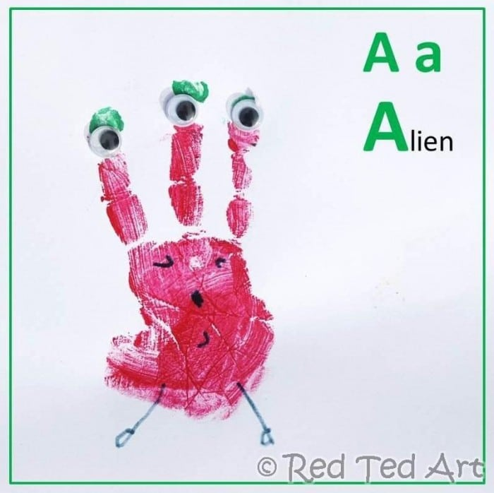 Handprint Crafts A for Alien