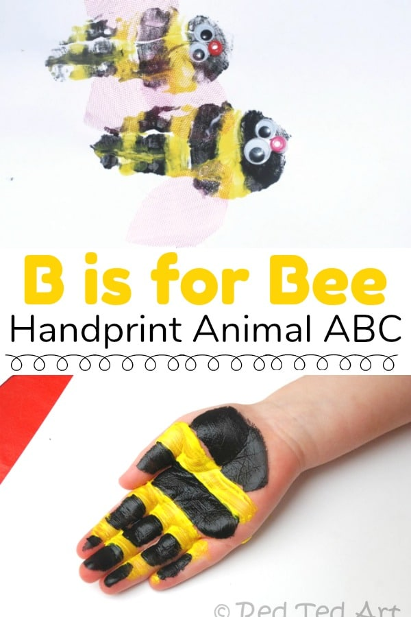 handprint animal alphabet b is for bee - shows preschooler hands