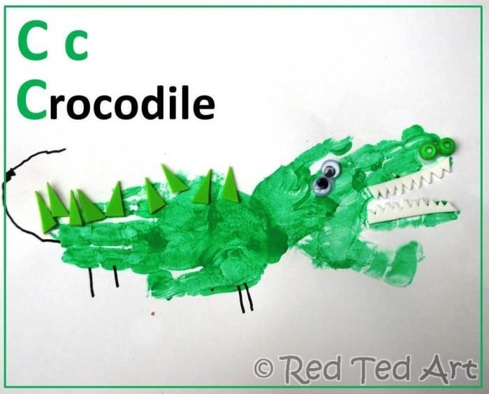 Handprint c is for crocodile - preschooler arts and crafts