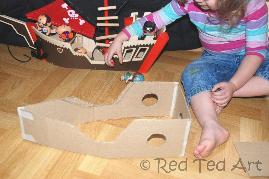 DIY Pirate Ship. We love this easy cardboard ship. My kids still play with it years later #pirates #ship #boat #cardboard #recycling
