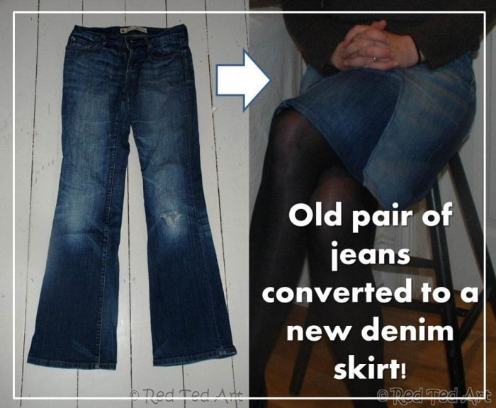 turn jeans into a skirt