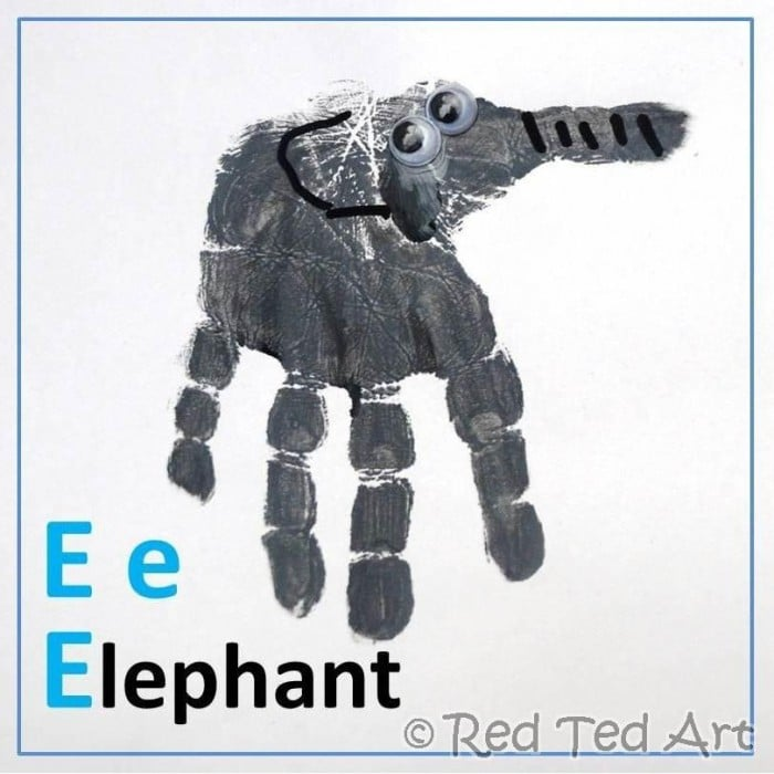 Handprint Alphabet E Is For Elephant Red Ted Art