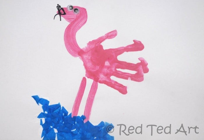 flamingo handprint art