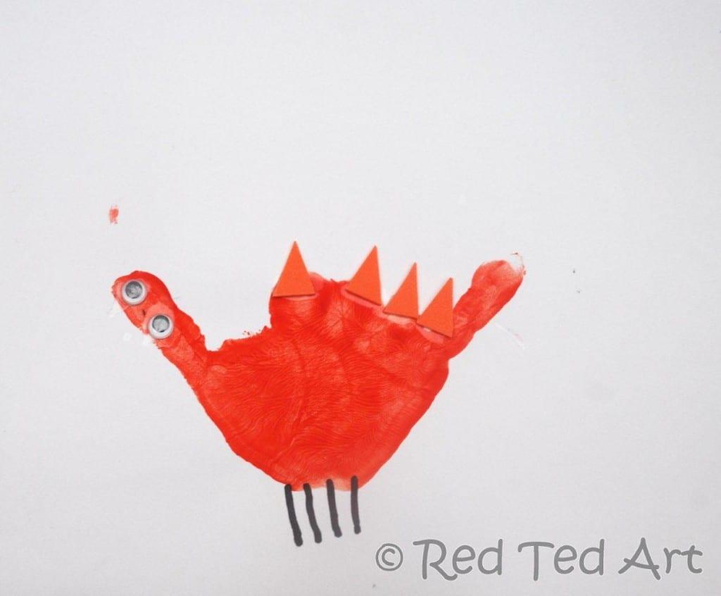 handprint crafts d for dinosaur