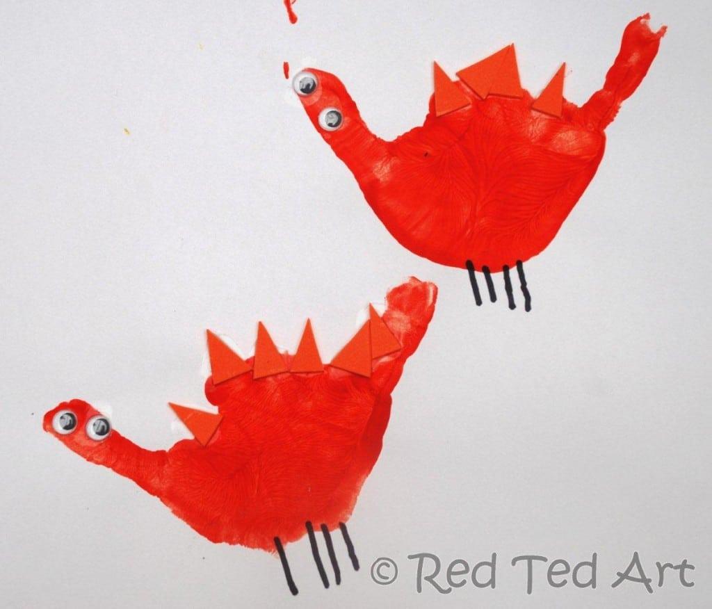 handprint crafts dinosaur