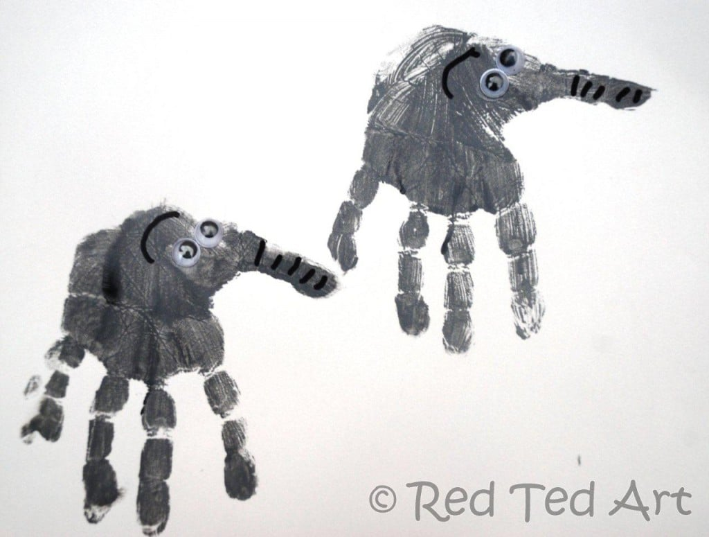 Handprint alphabet e is for elephant red ted art 39 s blog for E crafts for preschoolers