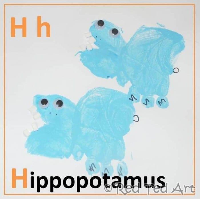 Handprint Alphabet – H is for Hippopotamus