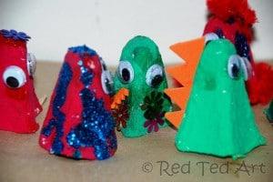 egg carton puppets