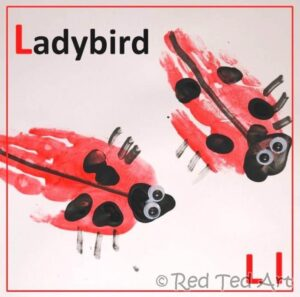 ladybird handprint craft