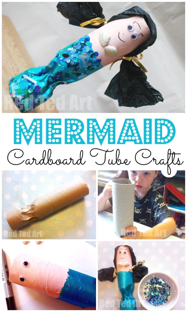 Toilet Paper Roll Mermaids. Cardboard Tube Mermaid craft. Paper Roll Craft Ideas. Love this adorable recycled mermaid craft for summer #preschool #mermaids #toiletpaperolls #cardboard