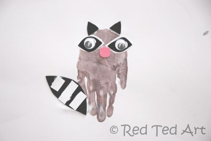 racoon handprint art