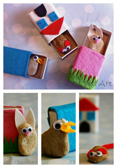 Stone pets in matchboxes - collage of 3 different ones - bunny, duck and mouse