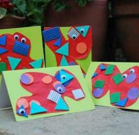 Easy Monster Card for young kids to make. Looking at shapes and colours