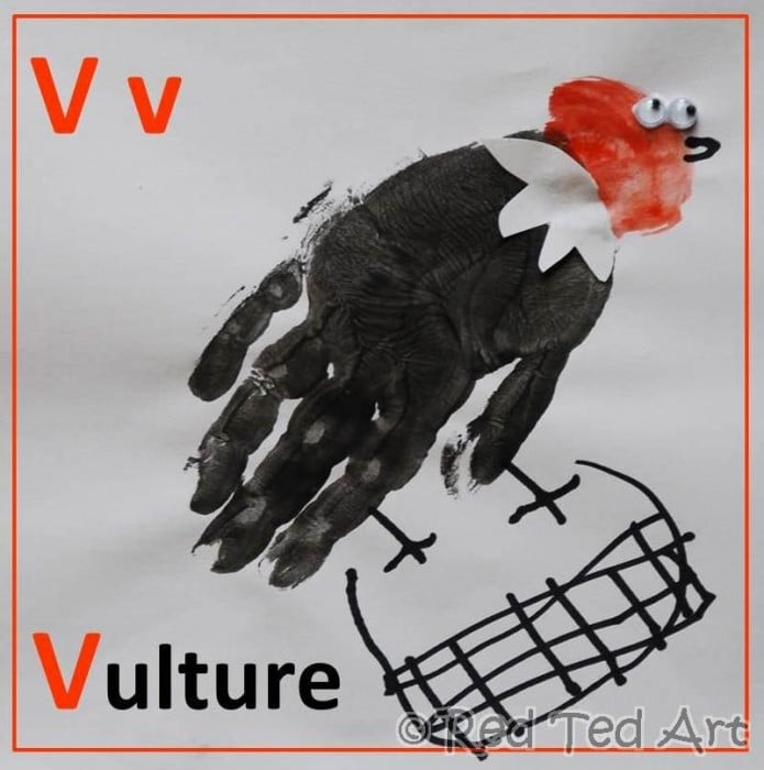 Handprint Alphabet – V for… Vulture